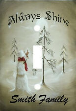 PERSONALIZED ALWAYS SHINE SNOWMAN STAR HOLIDAY LIGHT SWITCH PLATE COVER