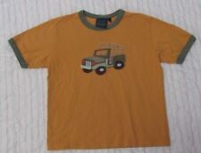 Boy's Mini Boden size 5-6 years Jeep applique t-shirt orange/army green