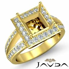 Princess Cut Halo Engagement Ring Semi Mount Real Diamond Pave 18k Yellow Gold