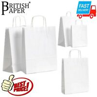 WHITE PAPER BAGS WITH HANDLES SMALL LARGE 100 50 25 FOR PARTY GIFT SWEET CARRIER