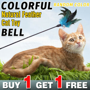 2/4/6x Cat Play Toy Feather Teaser Wand Interactive Stick Feather With Bell Rod