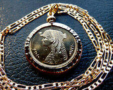 "Gold Plated Nugget Bezeled Cleopatra Pendant on a 16"" Gold Filled Figaro Chain"