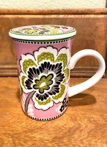Vera Bradley Porcelain Mug with Lid Priscilla Pink Cup Collectible Floral