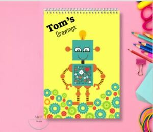 Rory Robot Personalised A4 Sketch pad/ Art book/ Drawing Book