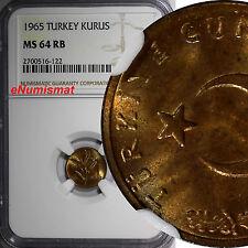 Turkey Bronze 1965 1 Kurus NGC MS64 RB NICE RED TONED KM# 895a