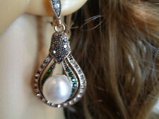 Vintage Water Drop Earing Large Pearl Emerald Earrings For Ladys
