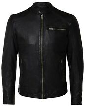 SELECTED Homme Tylor 100% Leather Jacket Short Fashion Bomber Biker Coat Black