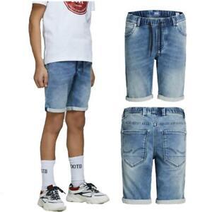 Jack & Jones Boys Denim Shorts Kids Elasticated Waist Cotton Casual Half Pants