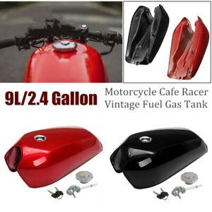 9L/2.4Gallon Universal Modified Motorcycle Cafe Racer Vintage Fuel Gas Tank Set