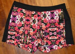 Women's Nicole Miller Pink Purple Orange Floral Shorts Sizes 4, 10