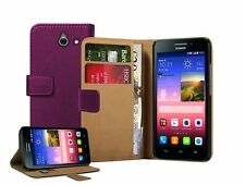 Wallet PURPLE Leather Flip Case Cover Pouch Saver For Huawei Ascend Y550