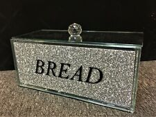 Silver Crushed Diamond Crystal Mirrored Bread Bin Container, Kitchen,Home,Gift