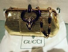 GUCCI LIZARD SERPENT ACCENT  ,PURPLE ENAMEL  EVENING BAG BY TOM FORD  RARE 9X5X3