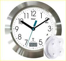 Badezimmer-Funk-Wanduhr mit Thermometer & Saugnäpfen Alu-Rahmen