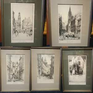 Rare Collection 5x Signed Original 1930s Etching Framed Print Frank Greenwood