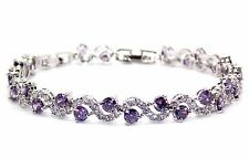 18k White Gold Plated Amethyst And White Topaz 14.01ct Adjustable Bracelet