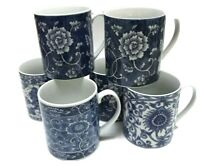 Set Of 6 Takahashi Mugs San Francisco Cups Coffee Tea White Cobalt Blue Floral