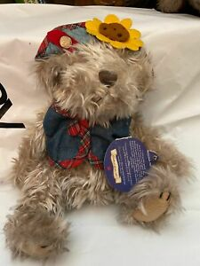 """Blossom brass button bear collection plush stuffed animal bear New 9"""" Tag ripped"""