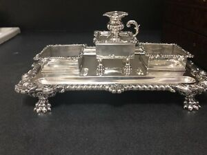 George III Sterling Ink Stand John And Thomas Settle Birmingham