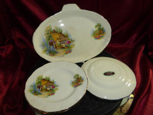"Vintage J Fryer & Son PLATE & DISH SET ""A Somerset Cottage"" English countryside"