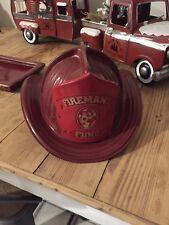 Fireman's Fund Full Size Red Hard Plastic Fireman's Helmet Hat Parker Plastics