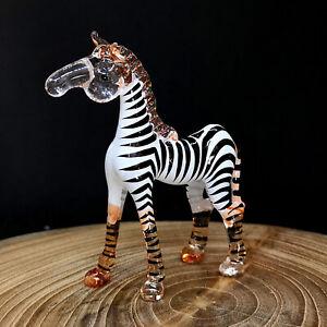 Blown Glass Zebra Figurine Wildlife Collectible Miniature Handmade Animal Safari