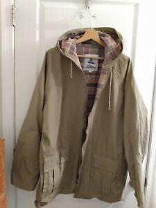 Misty Harbor Flannel Lined PVC Slicker Rain Coat TAN  Hood Jacket  MEN