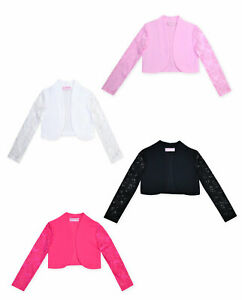 Girls Bolero Shrug Cardigan Kids Lace Long Sleeve Party Top New Ages 3-13 Years