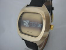 NOS NEW BIG SWISS MECHANICAL HAND WINDING GOLD PL GIGANDET DIGITAL MEN'S WATCH