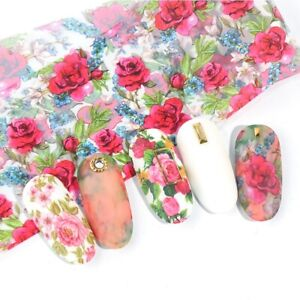 10 Pcs 20X4cm Rose Flower Nail Foil Sticker Transfer Film Manicure Professional