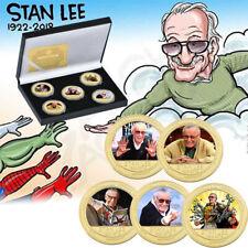 Remember Stan Lee Pièce Plaqué Or 5PCS Coffret Cadeau Marvel Excelsior Collect
