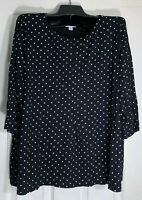 New J Jill women plus size 2X  Seamed front Pima Cotton 3/4 sleeve Polka dots