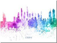 "Dubai City Skyline watercolor Abstract Canvas Art Print 8""X10"""