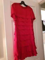 Louis Feraud vintage ladies red silk ruffled beaded dress size 8