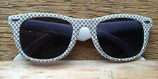 Vintage Wayfarer Style Sunglasses/White & Black Diamond Print/Retro/Kitsch