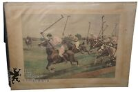 Antique Thulstrup Hand Colored Wood Engraving Polo at Cedarhurst Harper's 1889