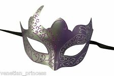 Silver Purple Venetian Mask Masquerade Laser Cut Mardi Gras Unisex PM002SLPU NEW