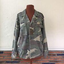 Women's Size Small Oversized Camouflage Print Jacket Studded