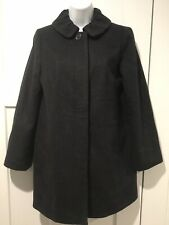 J Crew 100% Wool Black -Size 2  Lined Coat Ruffled Neck and Back