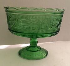 EO Brody Green Glass M6000 Pedestal Compote Dish - Excellent Condition
