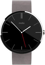 Motorola Moto 360 40mm Stainless Steel Case Grey Leather Classic Buckle - (SM39…