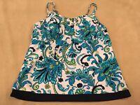 Ocean Dream 12 Womens Tankini Swimsuit Top Blue Floral Paisley Swim