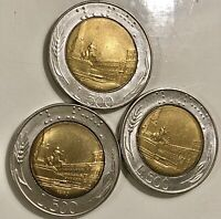Lot of three beautiful Vintage Italy 500 lire Coins 1982-2001