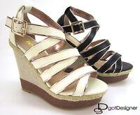 Womens Fashion Shoes Pump Platform Wedge Heel Sandal Open Toe Woven Espadrille