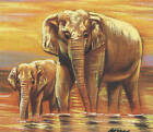 MINIATURE HAND MADE PAINTING OF ELEPHANTS WITH SUNSET VIEW