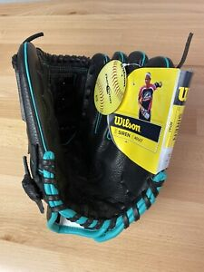 "Wilson Siren A500 Adult 12"" Fast Pitch Softball Black W/ Teal Highlights RHT NEW"