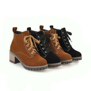 Punk Ladies Block Heel Lace Up Combat Ankle Boots Warm Biker Casual Shoes Girls