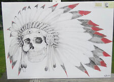 "NATIVE INDIAN SKULL  XL CANVAS WALL HANGING 36 X 24 "" READY TO HANG XL"