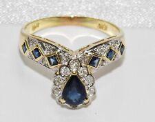 18ct Gold Blue Sapphire & Diamond Wishbone / Cocktail Ring size S