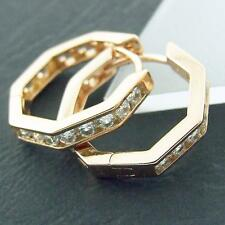 FS373 GENUINE 18CT ROSE G/F GOLD SOLID DIAMOND SIMULATED HUGGIE HOOP EARRINGS